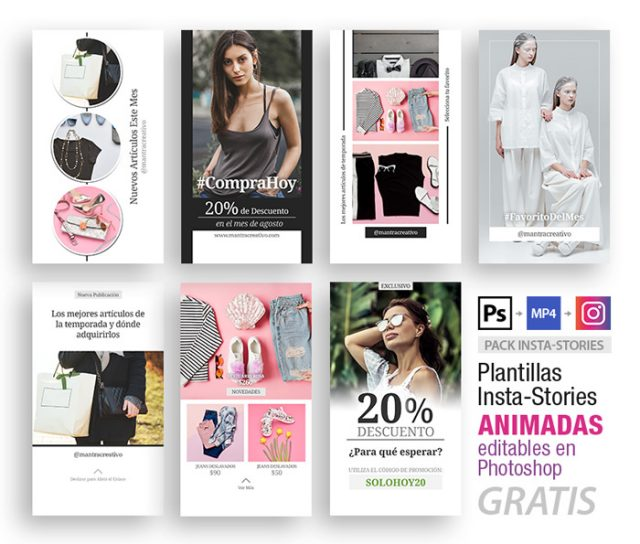 instagram stories plantillas animadas tienda minimalista
